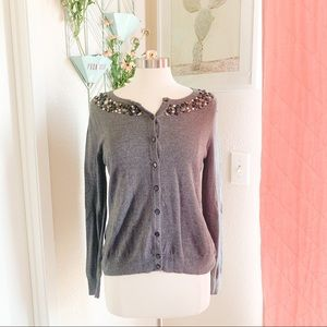 Merona   Embellished Button-Up Gray Cardigan